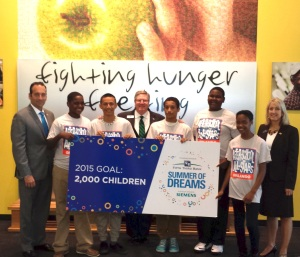 Fifth Third Bank's Chip Smallwood, Barb Scherer, Andy Insua with students from After School All Stars and Summer of Dreams